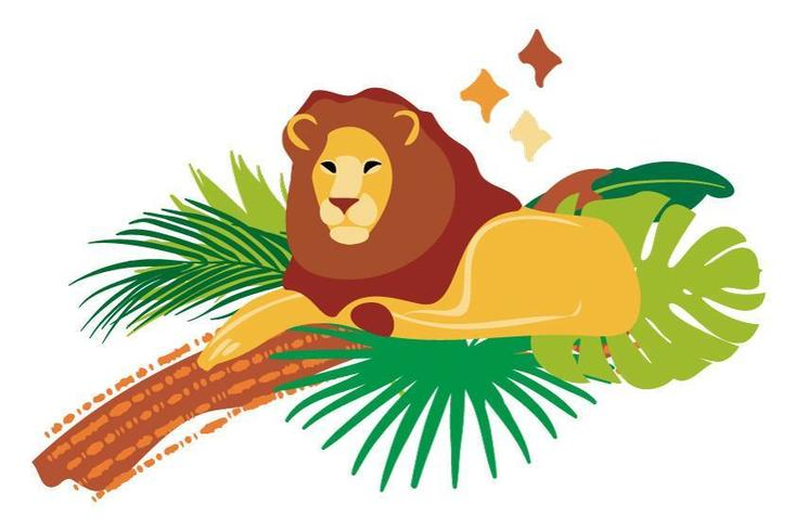 Vector hand drawn flat composition with lion and tree