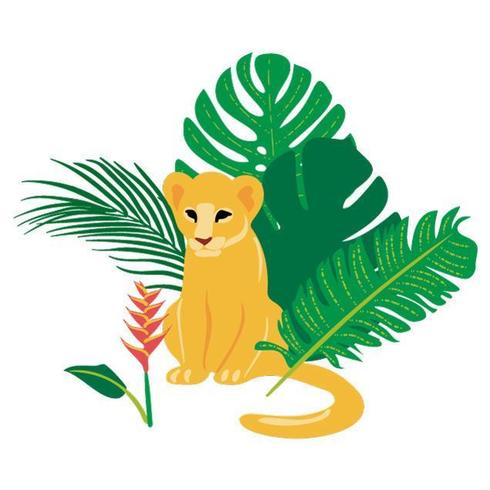 Hand drawn flat composition with baby lion