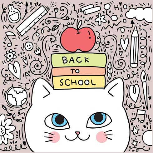 Back to school cat and book illustration