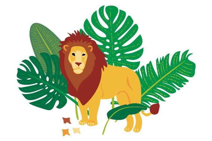 Vector hand drawn flat composition with lion and leaves
