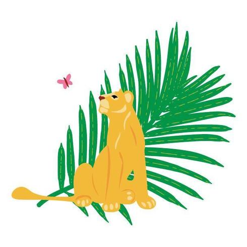 Vector hand drawn flat composition with lion and butterfly