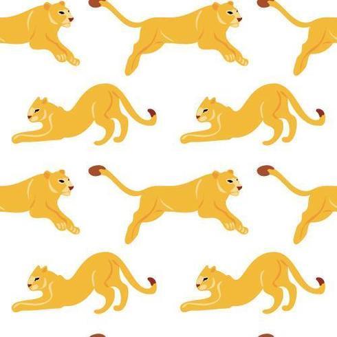 Modèle sans soudure plat dessiné de main de vecteur avec les lions