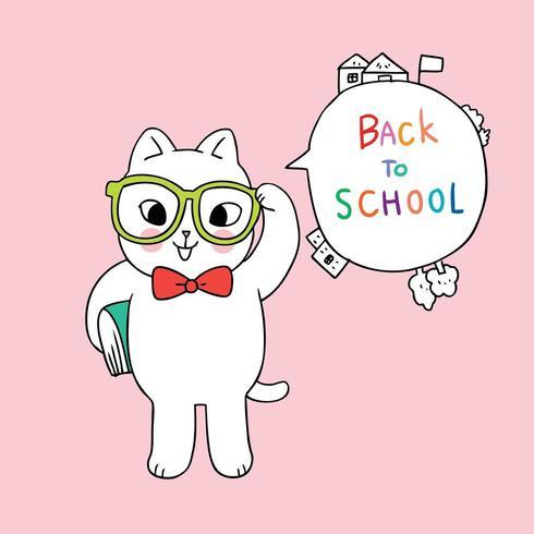 Vector de gato de regreso a la escuela