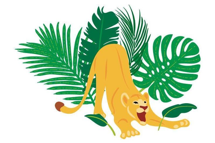 Hand drawn flat composition with lion