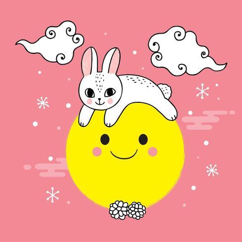 Cute mid autumn rabbit and moon vector.