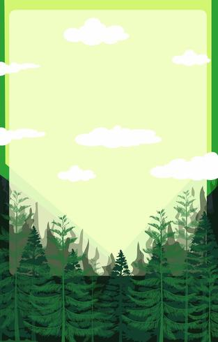 Pine forest with green sky
