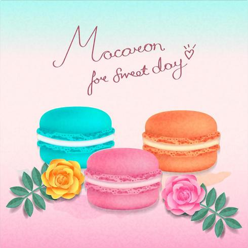 Conjunto de coloridos macarons y texto