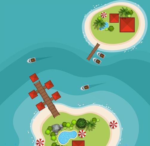 Vista aérea de duas ilhas no mar
