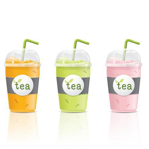 Conjunto de chávenas de chá gelado vetor