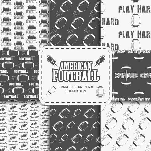 Colección de patrones sin fisuras del equipo de fútbol americano universitario en estilo retro vector