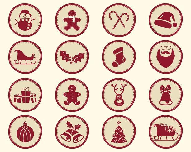Natale, inverno Badge ed elementi di design con simboli di vacanza