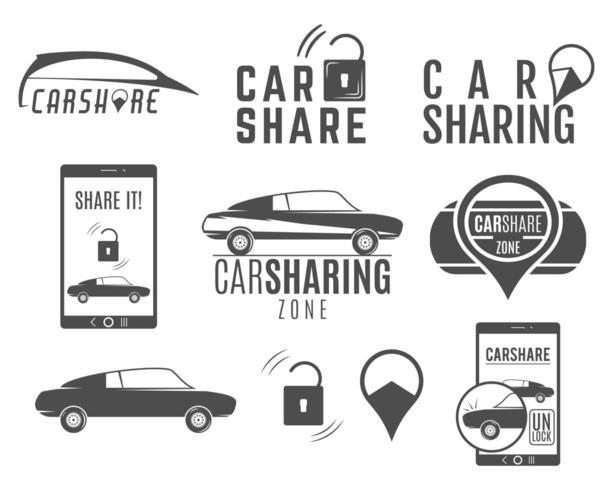 Conjunto de diseños de logotipo de coche compartido