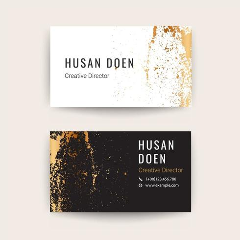business card template gold brush style