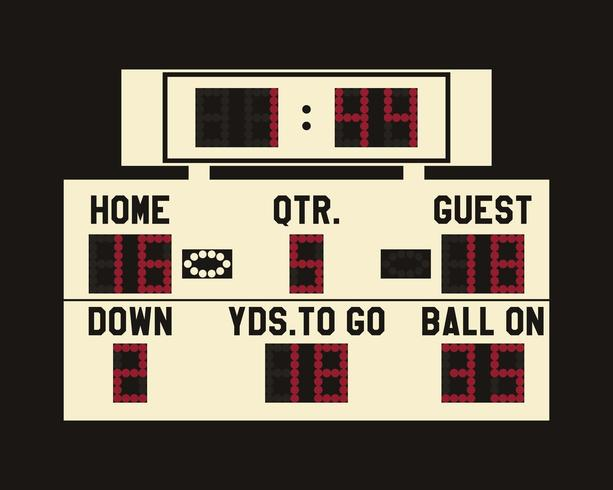 LED american football scoreboard with fully editable data, timer and space for user info