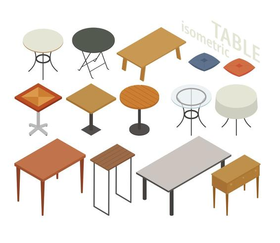 Set of isometric furniture in various table styles.