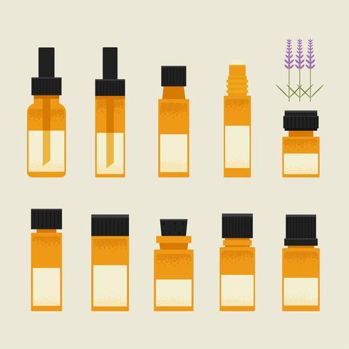Uppsättning av terapiolja i små flaskor