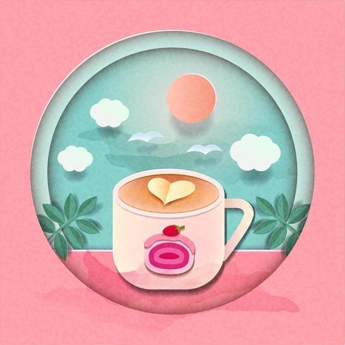 Caneca de café bonito na frente do pano de fundo dia brilhante