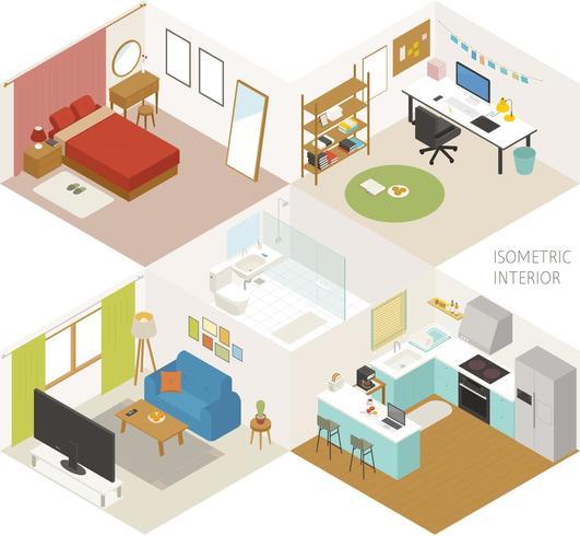 Habitación. Conjunto de muebles isométricos en varios estilos.