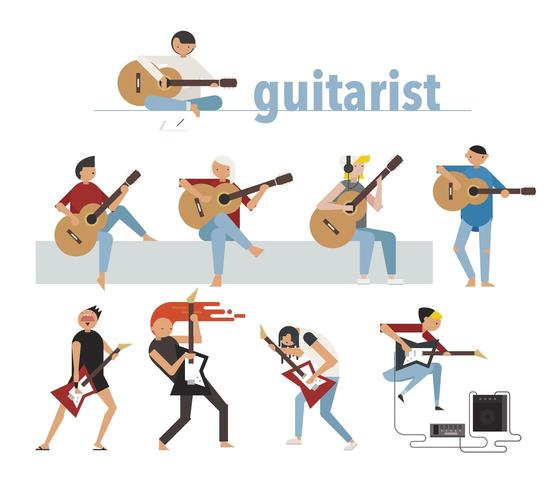 Guitarristas tocando guitarras acústicas y eléctricas.