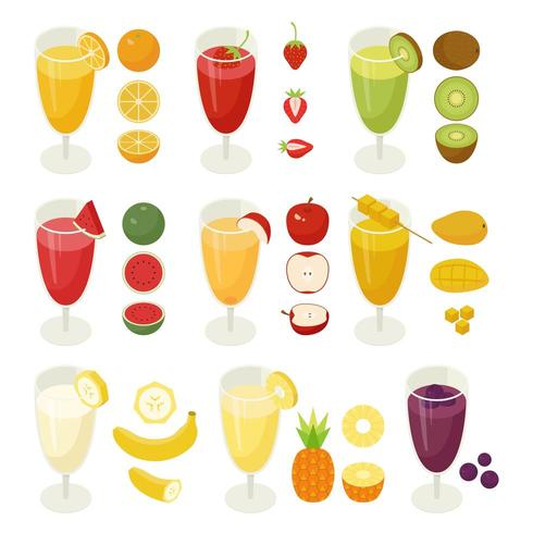 Fruit Drinks in Juice Cups With Fruit Icons
