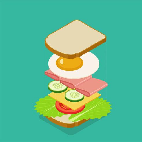 Camadas desconstruídas de sanduíche isométricas