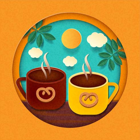 Paper cut style coffee cups on sky and sun background