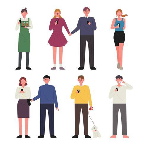 Personas adictas al conjunto de caracteres del teléfono celular vector
