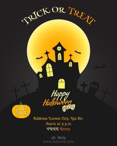 Happy Halloween party poster, flyer or banner