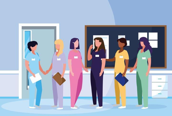 grupo de médicos mujeres en el hospital vector