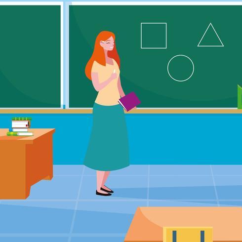 vrouwelijke leraar in de klas met schoolbord