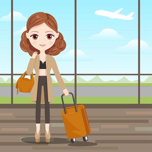 Chica encantadora lista para viajar