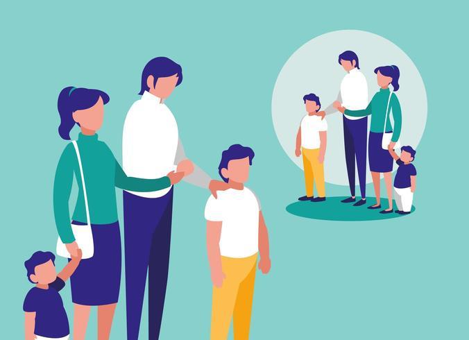 Familia con niños vector