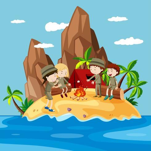 Niños acampando en la isla vector