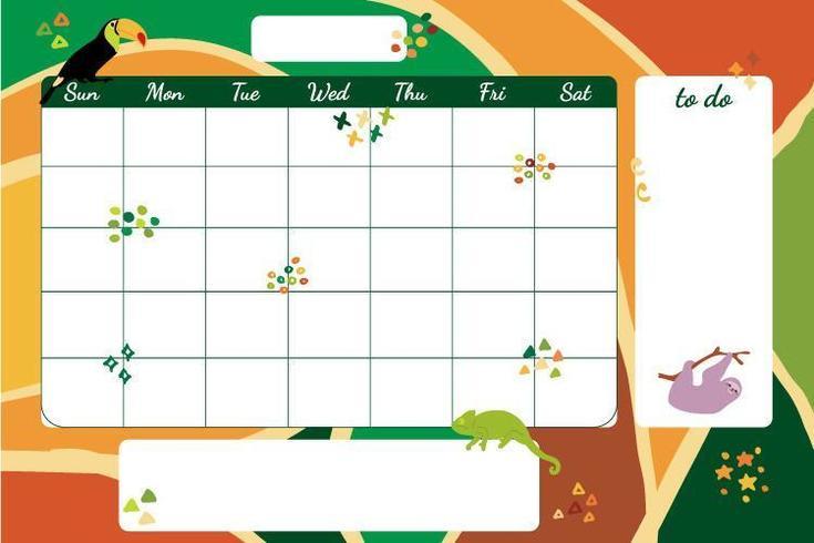 Planificador semanal tropical dibujado a mano