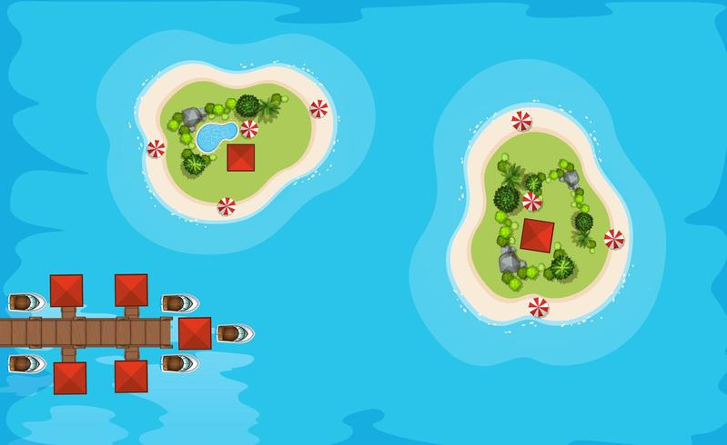 Flygfoto över två öar i havet