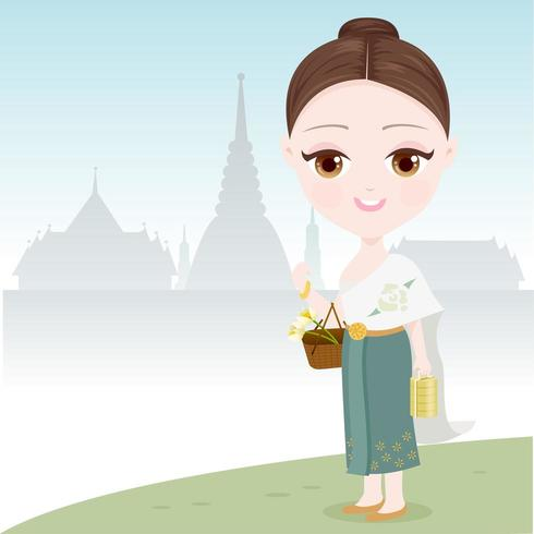 Thai Woman Going To The Temple