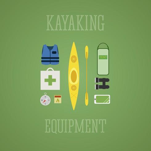 Conjunto de ícones de equipamento de caiaque