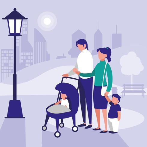family in park with children  vector