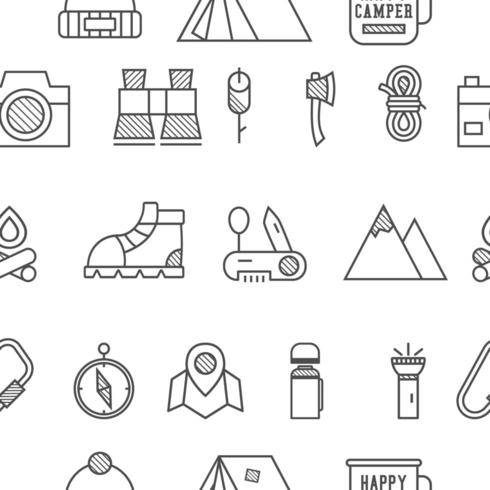Camp, travel seamless pattern with thin line icon style