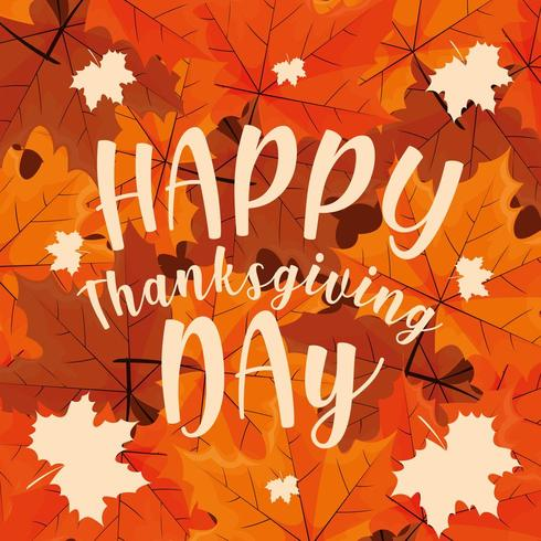 happy thanksgiving day with leaves