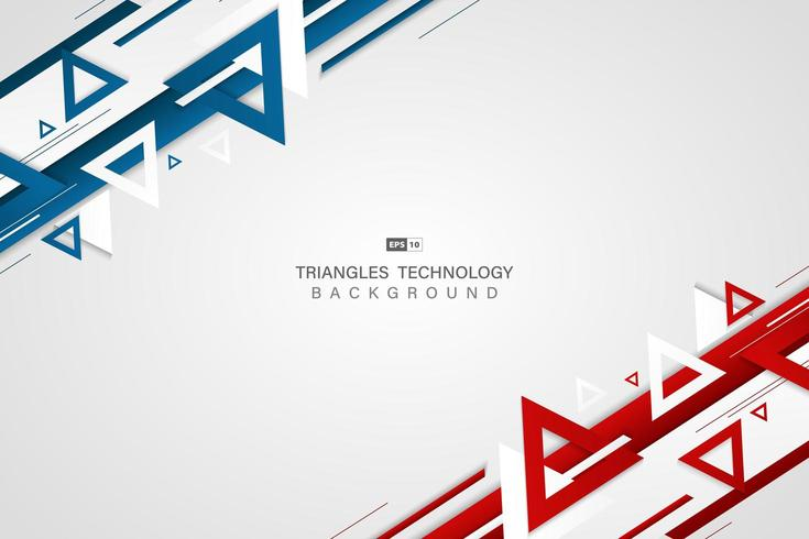 Abstrakte Technologiefarbe des blauen Rotes des Dreiecks Hintergrund