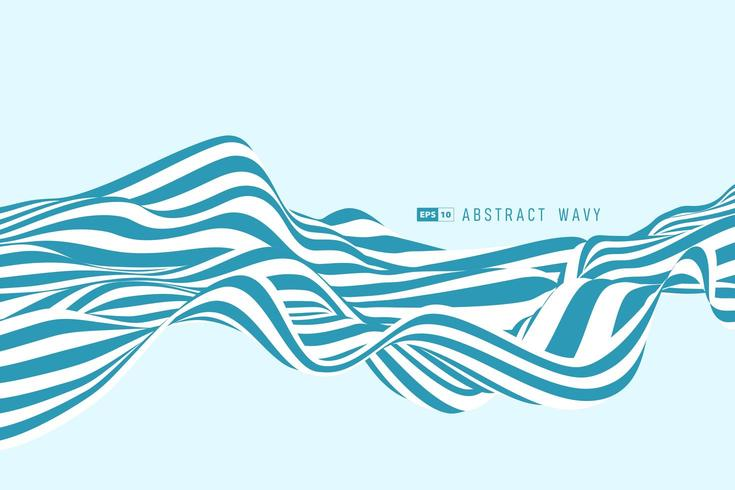 Abstract blue and white minimal stripe line 3D Background vector
