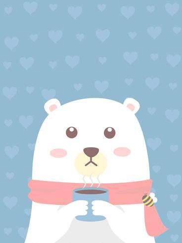 witte beer houdt een kopje koffie