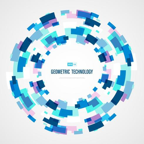 Abstract blue technology square circle color of futuristic background