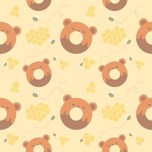 modèle sans couture ours beignet et nid d'abeille