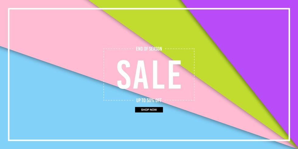 Banner de venda colorida de corte de papel