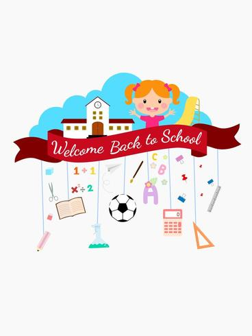 Terug naar schoolachtergrond met meisje en schoolbanner.