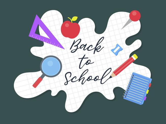 Back to school, School supplies poster template