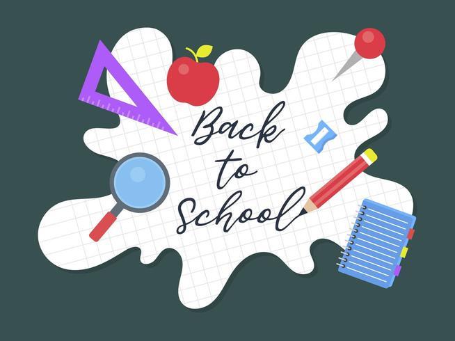 Ritorno a scuola, modello di poster di materiale scolastico