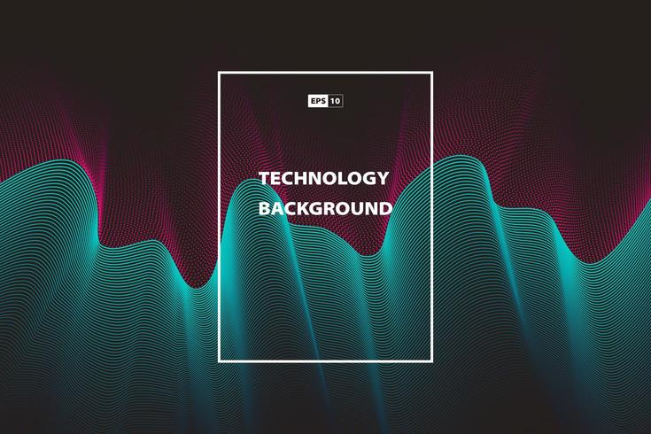 Abstract wavy technology color background template design vector